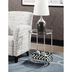Whittier Chrome and Glass Two Tier Round End Table