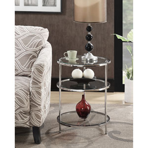 Whittier Chrome and Glass Three Tier Round End Table