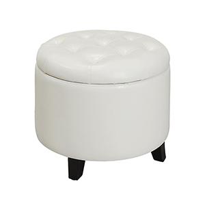 Nicollet White Round Ottoman