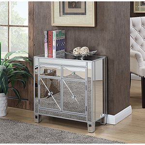 Vivian Silver Two Faux Crystal Drawer Mirrored Cabinet