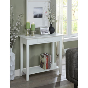 Grace White Hall Table with Drawer and Shelf