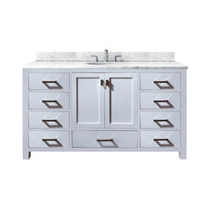 Nicollet 60-Inch White Single Vanity with Carrera White Marble Top and Single Sink