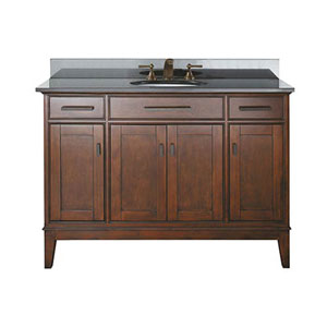 Evelyn Walnut 48-Inch Sink Vanity with Black Granite Top