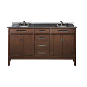 Evelyn Walnut 60-Inch Double Sink Vanity with Black Granite Top