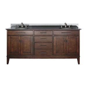 Evelyn Walnut 72-Inch Double Sink Vanity with Black Granite Top