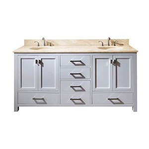 Nicollet White 72-Inch Double Sink Vanity with Galala Beige Marble Top