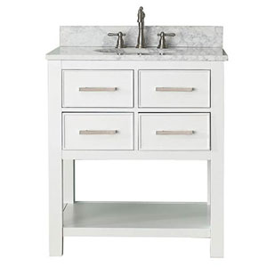 Cooper White 30-Inch Vanity Combo with Carrera White Marble Top