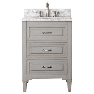 Selby Grayish Blue 24-Inch Vanity Combo with White Carrera Marble Top