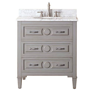 Selby Grayish Blue 30-Inch Vanity Combo with White Carrera Marble Top