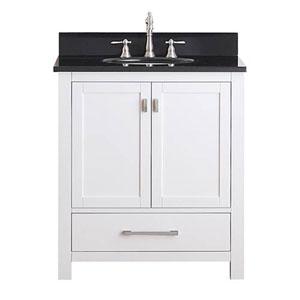 Whittier White 30-Inch Vanity Combo with Black Granite Top