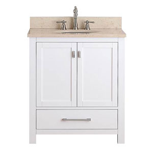 Superior Whittier White 30 Inch Vanity Combo With Galala Beige Marble Top