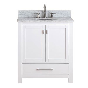 Whittier White 30 Inch Vanity Combo With Carrera Marble Top