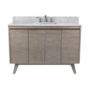 Uptown 49-Inch Vanity in Gray Teak with Carrara White Top