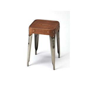 River Station Brown Leather Counter Stool