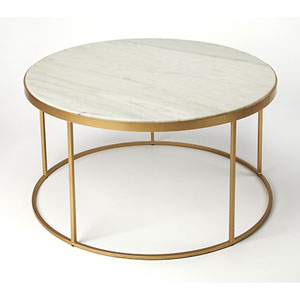 Monroe Marble and Gold Coffee Table
