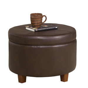Loring Espresso Large Storage Ottoman