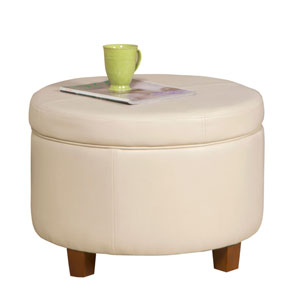 Loring Cream Large Storage Ottoman
