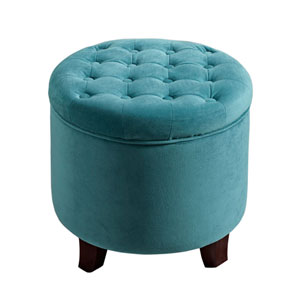 Whittier Teal Round Storage Ottoman