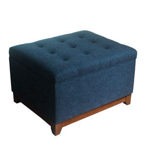 Selby Navy and Driftwood Storage Ottoman