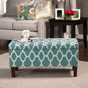 Selby Teal Storage Ottoman