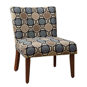 Uptown Blue and Tan Accent Chair