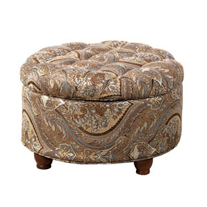 Wellington Teal Round Storage Ottoman