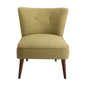 Nicollet Green and Walnut Armless Accent Chair