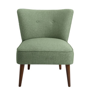 Nicollet Teal and Walnut Armless Accent Chair