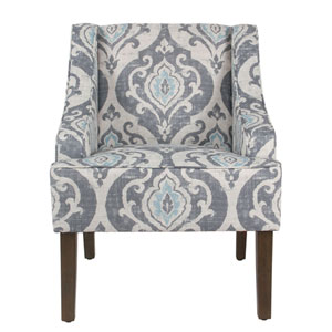 Quinn Blue and Grey Washed Accent Chair