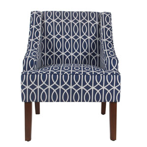 Loring Blue and Walnut Accent Chair