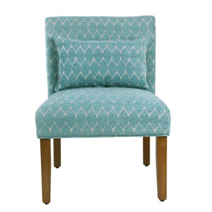 Loring Teal and Honey Oak Armless Accent Chair
