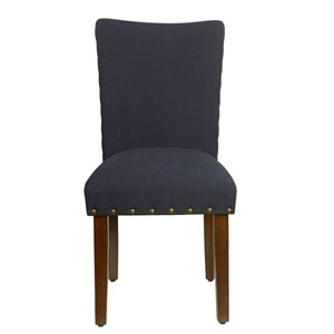 Whittier Navy and Walnut Parsons Chair (Set of Two)