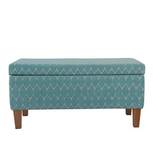Quinn Teal and Honey Oak Large Storage Bench