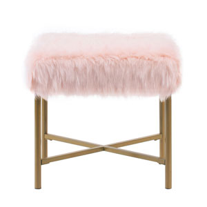 Vivian Pink and Gold Square Ottoman