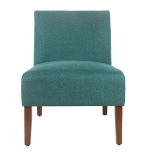 Whittier Teal and Walnut Armless Accent Chair