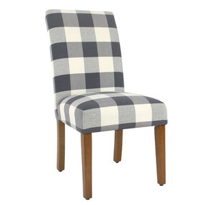 Quinn Blue Plaid Dining Chair (Set of Two)