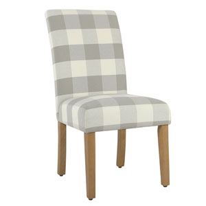 Quinn Grey Plaid Dining Chair (Set of Two)