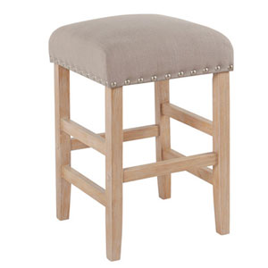 Whittier Tan Backless Counter Stool with Nail Heads