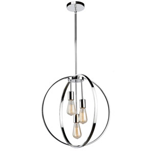 Nicollet Chrome Three-Light Chandelier