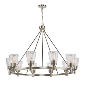 Nicollet Brushed Nickel Ten-Light Chandelier