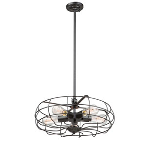 River Station Black Five-Light Pendant