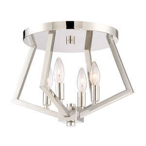 Uptown Point Polished Nickel Four-Light Flush Mount