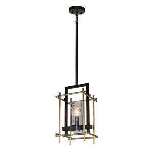 Uptown Oil Rubbed Bronze and Satin Brass One-Light Mini Pendant