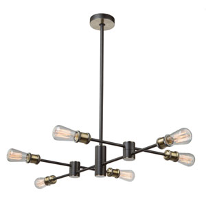 Uptown Matte Black and Satin Brass Six-Light Pendant