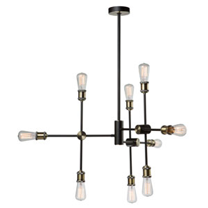 Uptown Matte Black and Satin Brass Nine-Light Pendant
