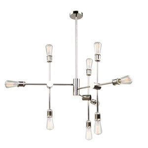 Uptown Polished Nickel Nine-Light Pendant