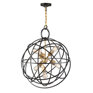 River Station Rubbed Bronze Six-Light Pendant