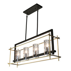 Uptown Oil Rubbed Bronze and Satin Brass Four-Light Island Pendant