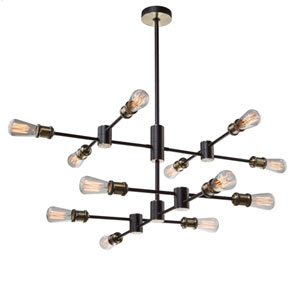 Uptown Matte Black and Satin Brass 12-Light Pendant