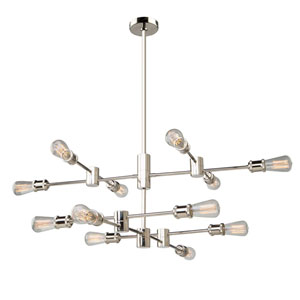 Uptown Polished Nickel 12-Light Pendant